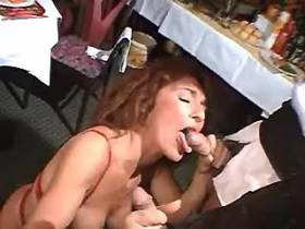 Depraved mature does double blowjob