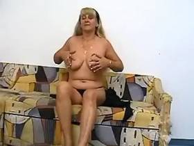 Old maid caresses her hairy pussy