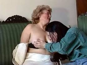 Grandma with young dude make oral love
