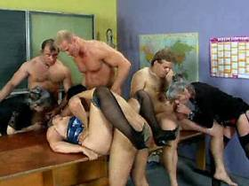 Depraved grey haired aged teachers screwed in orgy