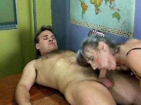 Guys have fun with three greyhaired moms in orgy