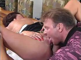 Man has anal sex with mature and jizzes on her ass