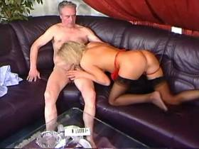 Aged man and gorgeous blonde mature masturbating