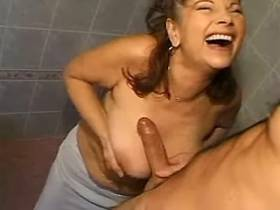 Cutie busty milf gets cumshot on face after fuck