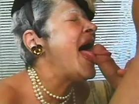 Greyhaired granny masturbating and fucking with guy