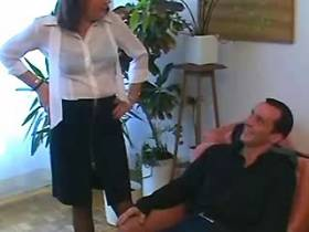 Aged mature sucks cock of guy with big pleasure