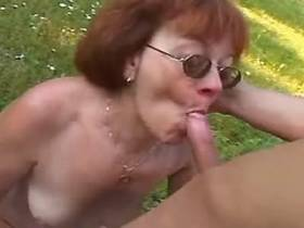 Lewd hot mature gets facial after hot fuck outdoor
