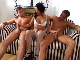 Brunette milf has double penetration in gangbang