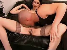 Mature with pussypiercing gets facial after ass fuck