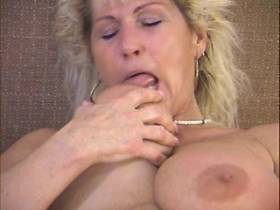 Chubby mature plays with dildo and sucks big black cock