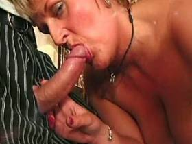 Blonde lewd mature gets facial after crazy sexorgy