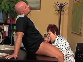 Fat mom gets cum on big tits after fuck in office