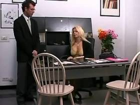 Beautiful blonde milf sucks cock and fucks in office
