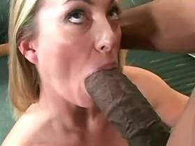 Cute milf fucks with blacky from behind and drinks cum