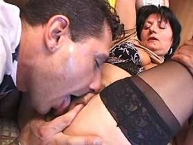 Aged lewd mature in black stockings gets hard fuck