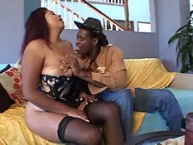 Chubby mature sucks big black dick and gets titsfuck