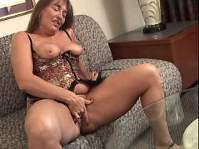 Chubby lewd mature does blowjob and fucks on sofa