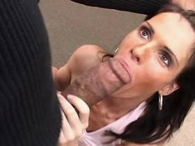 Brunette milf tastes cum after hot fuck with blacky