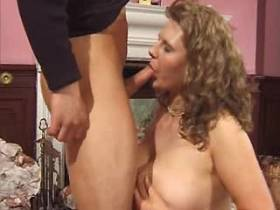 Chubby mature gest cumshot on tits after hard fuck