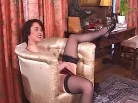Cute brunette milf does blowjob and fucks on sofa