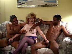 Elder mature and two black guys have oral in orgy