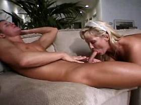 Blond mature fucks from behind and gets cum in mouth