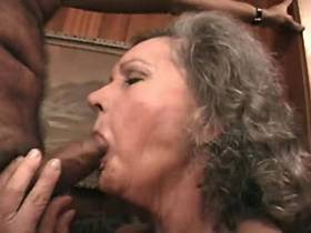 Elder mature has anal fuck with blacky and gets facial