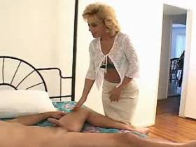 Blonde mature has hard oral sex and jumps on cock