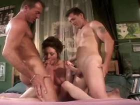Mature fucks in all holes in gangbang and drinks cum