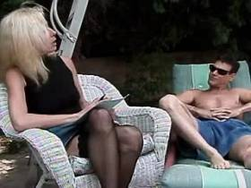 Blonde depraved mature sucks cock and fucks outdoor