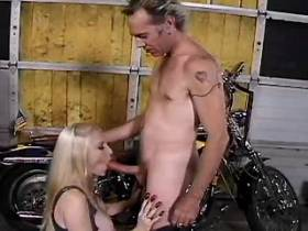 Beautiful blond mature has oral and fucks in garage