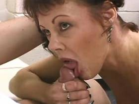 Hungry mature sucks big cock and gets strong facial