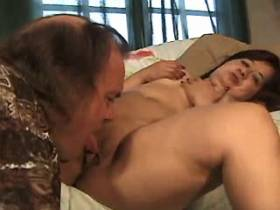 Elder depraved midget sucks and jumps on big cock