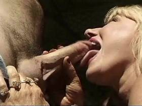 Blonde mature does hot blowjob and jumps on big cock