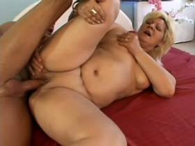Blonde chubby mature has hard fuck and gets facial