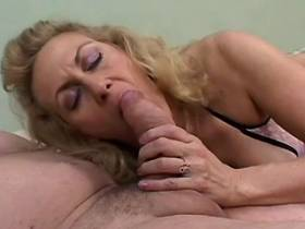 Smoking mature sucks cock and gets cumshot on tits