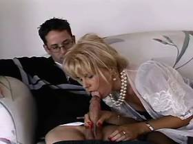 Blonde mature does great blowjob and has hard fuck