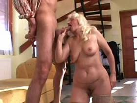 Chubby granny sucks cock and has fuck from behind